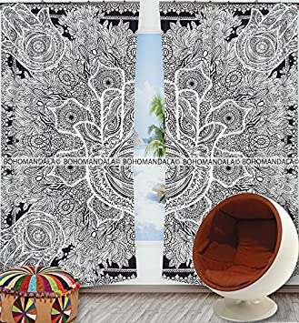 Exclusive Indian Black Hamsa Hand Mandala Tapestry Large Wall Hanging Hippie Window Curtain Valances Room Divider