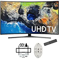 Samsung 54.6 Curved 4K Ultra HD Smart LED TV 2017 Model (UN55MU7500FXZA) with Deco Mount Slim Flat Wall Mount Kit for 32-60 inch TVs & Stanley Transformer Tap USB w/ 6-Outlet Wall Adapter & 2 Ports