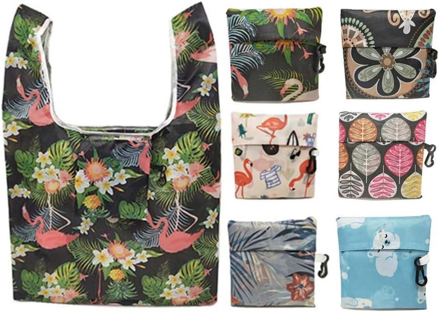 lavables avec mousqueton pour les courses Lot de 6 sacs de courses r/éutilisables respectueux de lenvironnement pliables r/éutilisables imperm/éables les achats les voyages
