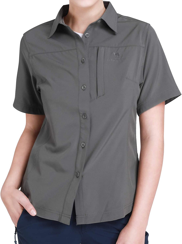 CAMEL CROWN Camisa de Manga Corta de Secado Rápido con Protección UV para Mujeres Senderismo Escalada Pesca Exteriores