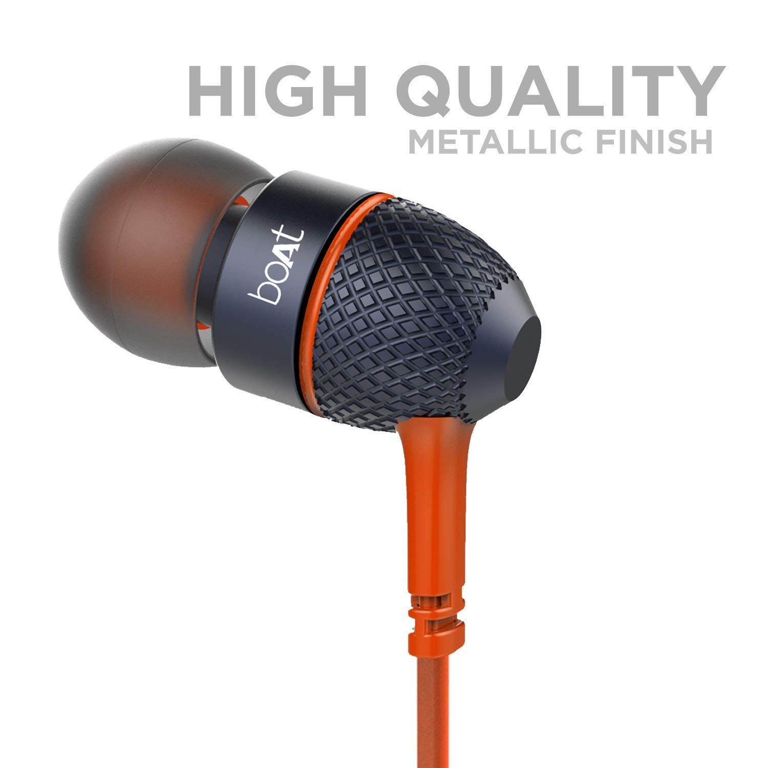 boAt BassHeads 225 in-Ear Wired Earphones with Super Extra Bass, Metallic Finish, Tangle-Free Cable and Gold Plated Angled Jack (Molten Orange)