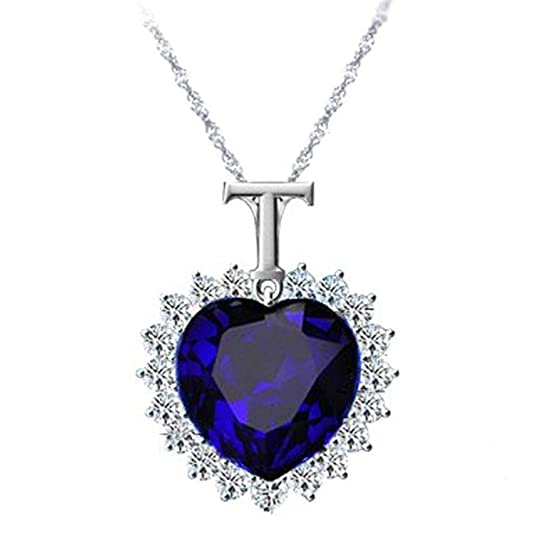 Via Mazzini White Gold Plated Sapphire Blue Heart Of The Ocean Titanic Crystal Necklace Chains & Necklaces at amazon