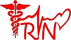 UR Impressions Red Registered Nurse - RN Caduceus Lifeline Heart Decal Vinyl Sticker Graphics for Cars Trucks SUV Vans Walls Windows Laptop RED 7.5 X 4.1 inch URI579