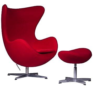 LeisureMod Arne Jacobsen Egg Chair U0026 Ottoman In Red Wool