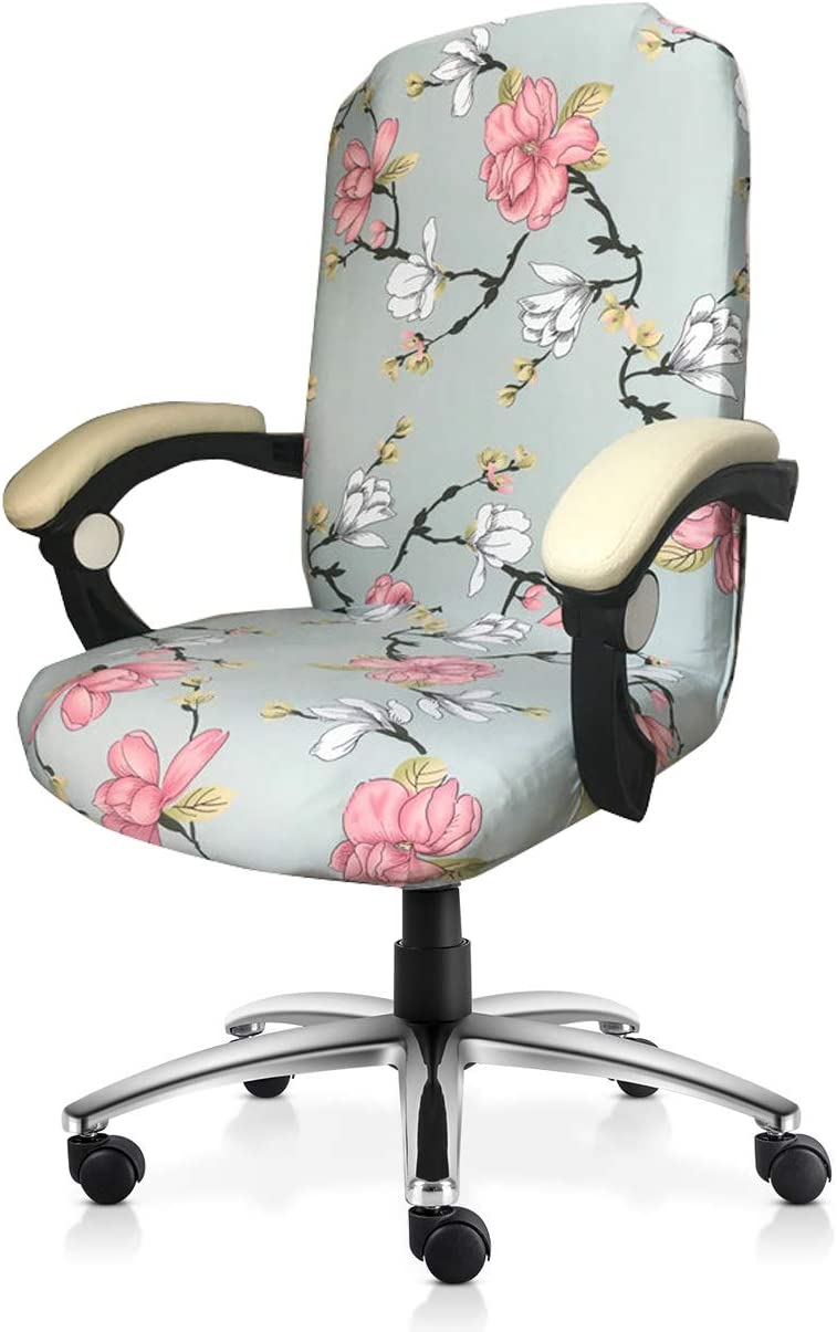 MOCAA Computer Office High Back Large Chair Covers Stretchable Polyester Washable Rotating Chair Slipcovers,ONLY Chair Covers M006 (Pink Flower)
