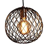 MSTAR Industrail Metal Pendant Light Copper Finished Globe Cage Lamp Shade Farmhouse Chandelier Ceiling Lighit Fixture