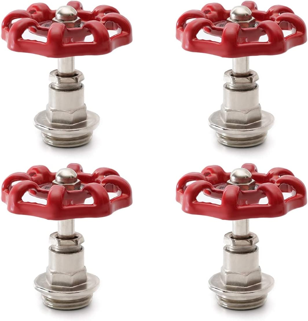 Red Industrial Pipe Plug Handwheel, Retro Antique Decorative Pipe Fittings for Steam-punk Vintage Shelf Bracket DIY Plumbing Pipe Decor Furniture (4, 1/2