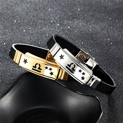 PROSTEEL Libra Bracelet,Celestial,Constellation,Zodiac Jewelry,Gift for Him,Men,Birthday Gift,Astrology Bracelet,Leather Bangle,H2679G