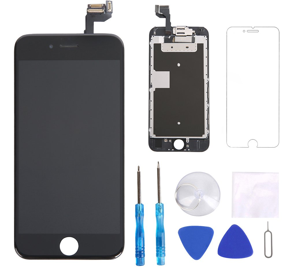 Screen Replacement for iPhone 6s Black 4.7' Inch LCD Display Screen 3D Touch Digitizer Frame Assembly Full Repair Kit, with Proximity Sensor, Ear Speaker, Front Camera, Screen Protector, Repair Tools Glob-Tech