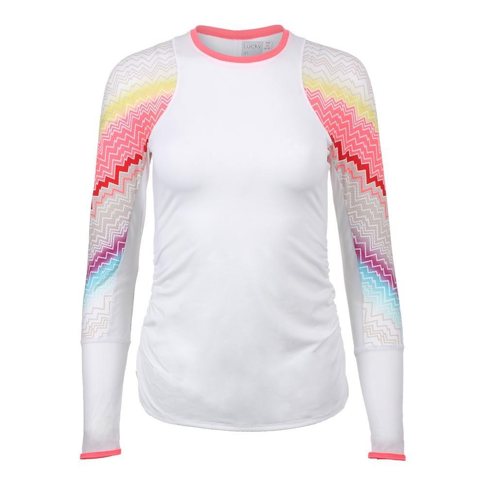 Lucky In Love Women`s Velocity Long Sleeve Tennis Top White-(655295852850)