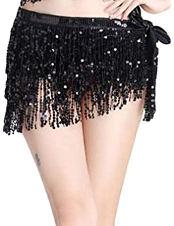 55f59d745 Viclearshop Women Sequin Shiny Club Mini Skirt Party Dress Dance Bling  Tassle Skirt