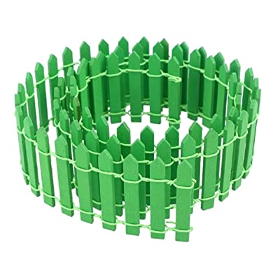 YABINA (TM) 1 Pack 35 Inches Long Miniature Fairy Garden Fence, 10 Colors Can Choose Wood Picket Fence, Decorative Fence for Miniature Garden, Fairy Garden Ornaments (Green): Garden & Outdoor