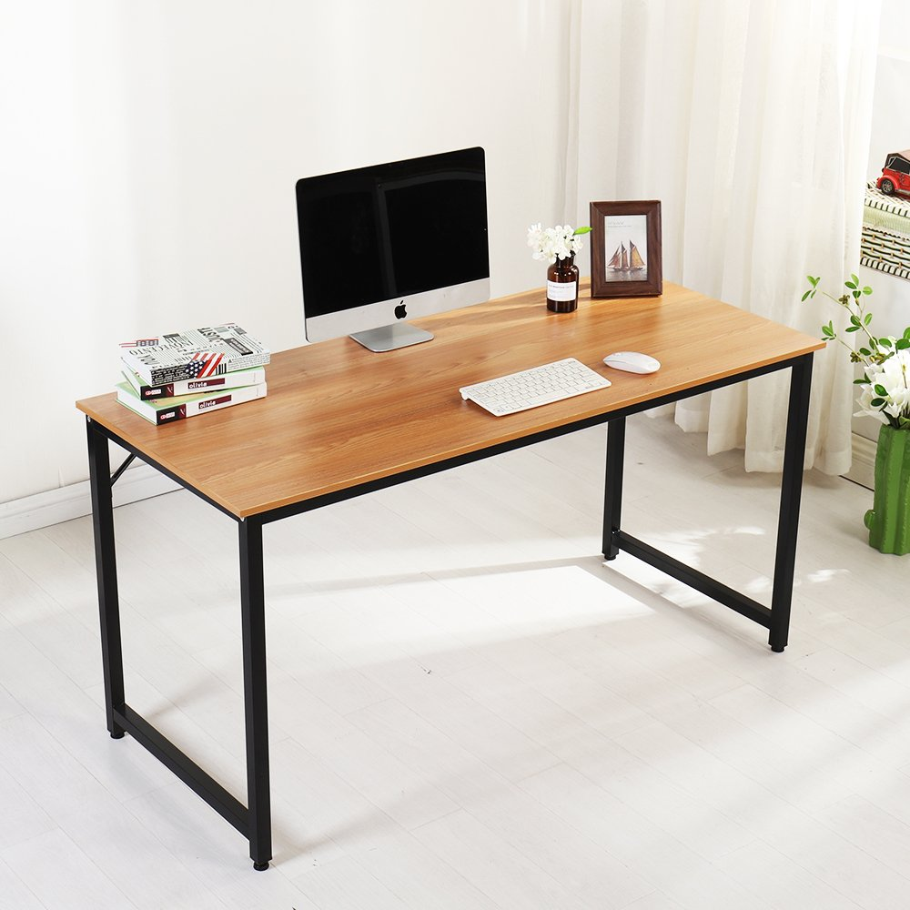 SogesHome Computer Desk 55'' PC Desk Office Desk Workstation for Home Office Use Writing Table, Teak JJ-TK-140-SH