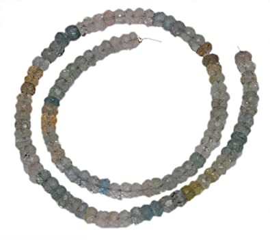 5 Mm Multi Color Aquamarine Gemstone Round Faceted Bead String Ns1277 Reputation First Jewelry & Watches