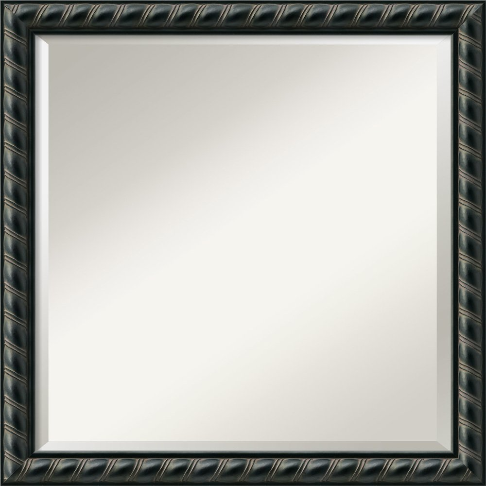 Amanti Art Wall Mirror Square, Pequot Black Wood: Outer Size 23 x 23