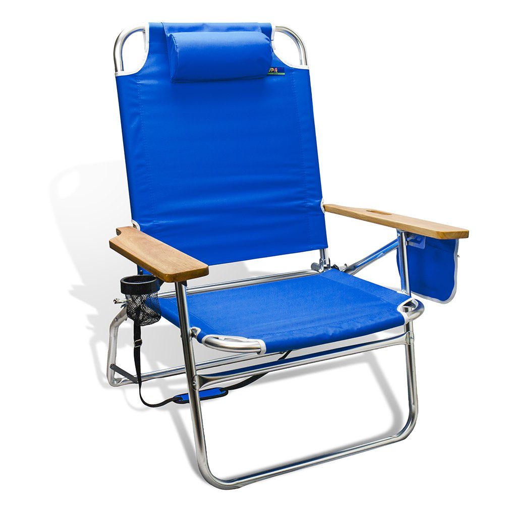 Oversized Heavy Duty 500Lbs Weight Limit Outdoor Beach & Camping Chair Big Jumbo & Big Fish Multi Position Aluminum Heavyweight Extra-Wide by Copa (Dark Blue)
