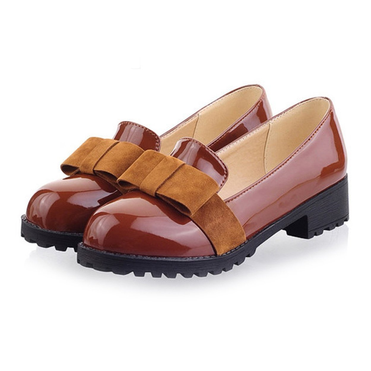 Susanny Women's Round Toe Patent Leather Slip on Shoes Sweet Bow Mid Heel Brown Oxfords Loafers Shoes 8.5 B (M) US
