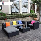 hu0026l patio 6pcs rattan wicker sofa set outdoor garden furniture cushioned sofa set with ottoman blackno assembly required - Sectional Patio Furniture