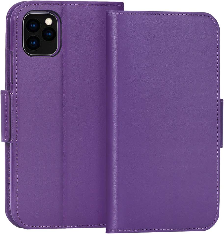 "FYY Case for iPhone 11 Pro 5.8"", Luxury [Cowhide Genuine Leather][RFID Blocking] Wallet Case, Handmade Flip Folio Cover with [Kickstand Function] and[Card Slots] for iPhone 11 Pro 5.8""Purple"