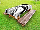 Lunarable Log Cabin Outdoor Tablecloth, Monochrome Wooden Cabin in The Woods Agriculture Theme American Countryside, Decorative Washable Picnic Table Cloth, 58 X 120 inches, Black and White