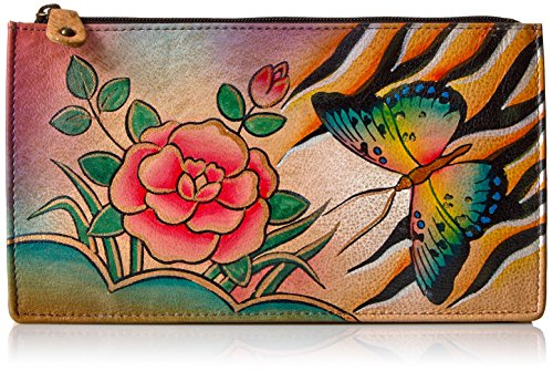 Anuschka Women's Genuine Leather Organizer Wallet | Holds up to 7 Cards | Hand Painted Original Artwork | Antique Rose