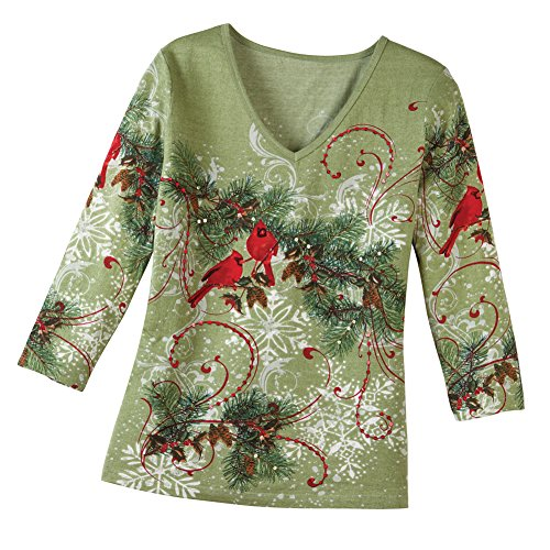 - Collections Etc Women's Women's Holiday Top, Winter Snowflake Pine with Sequin Accents, Sage Green, XX-Large, Plus-Size