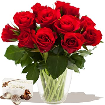 Eden4flowers I Love You Dozen Red Roses Chocolates Exclusive Fresh Red Roses Bouquets For Love Romance Anniversary And Valentines Day