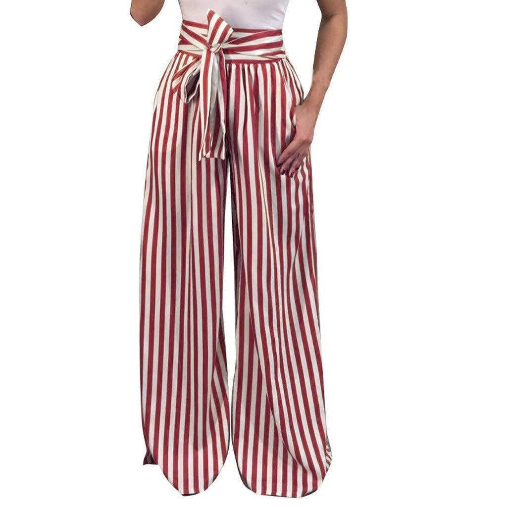 Naladoo Women Striped Dance Yoga Casual Pants High Waist Elastic Loose Wide Leg by Naladoo Shop Women Pants