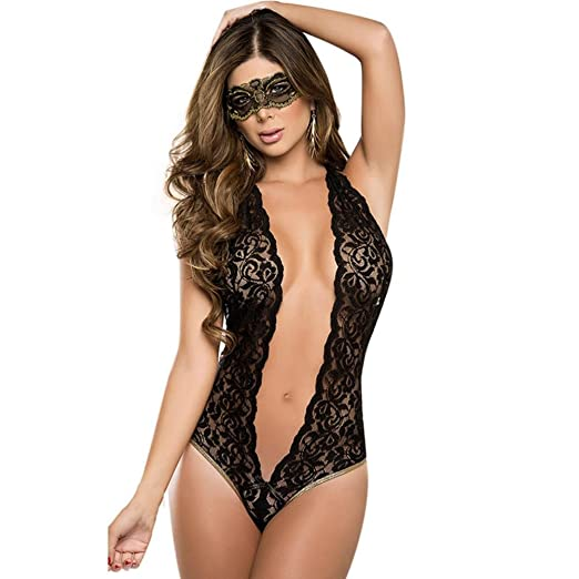 c26cb8677c Amazon.com  TAORE Womens underwear Women Sexy Lingerie One Piece Fishnet  Open Back Halter Lace Chest A File Open Babydoll (One Size