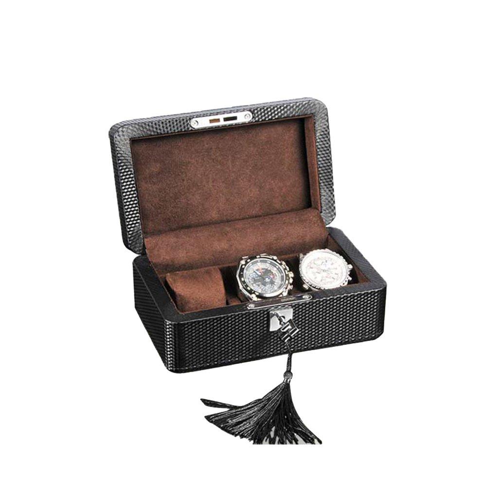 TG Watch Storage Collection Box Case Wood Carbon Fiber Leather Lock Black (1912 9.5Cm)