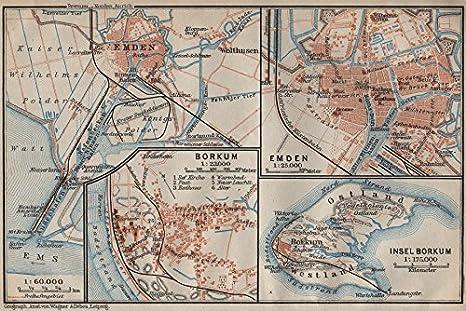 Amazon De Insel Borkum Emden Antik Town City Plan Stadtplan