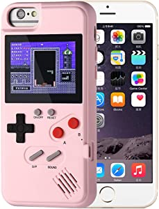 KOBWA Gameboy Case for iPhone, Retro Gameboy Design Style Silicone Cover Case with 36 Small Games, Color Screen,Gameboy Cover for iPhone Xs/X/XSmax/XR/8/8Plus/7/7Plus/6/6Plus (iPhone 6/7/8, Pink)