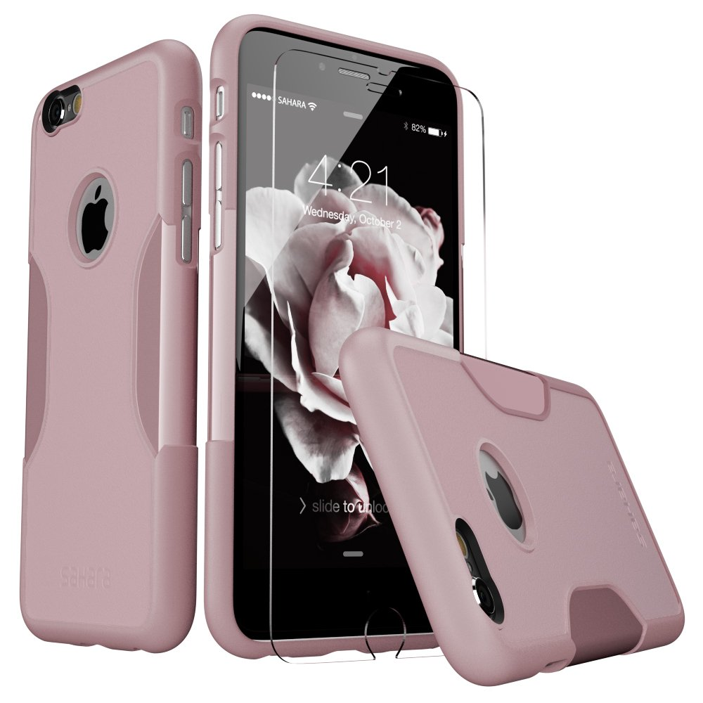 Amazon IPhone 6 Plus Case 6s Pink Rose Gold Bonus Tempered Glass Screen Protector Slim Rugged Protection Kit Built In Camera Hood TPU Bumper