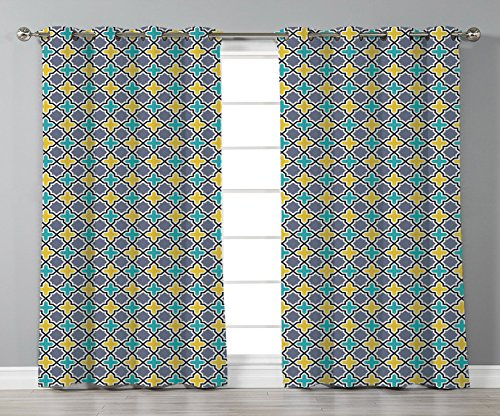 Thermal Insulated Blackout Grommet Window Curtains,Trellis,Victorian Baroque Ancient Pattern in Vibrant Colors Aged Dated Design,Purple Yellow Sky Blue,2 Panel Set Window Drapes,for Living Room Bedroo