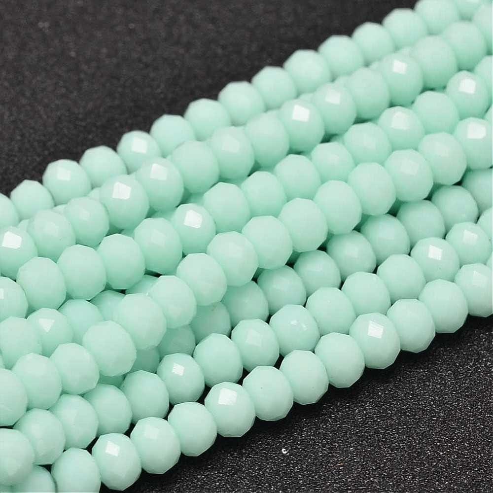 20stk Jade Perlas 6x 4mm Verde Menta Rondelle facettiert Media Piedras Preciosas Perlas joyería para Cadena Pulsera Ring Opaco Frosted Producto g911