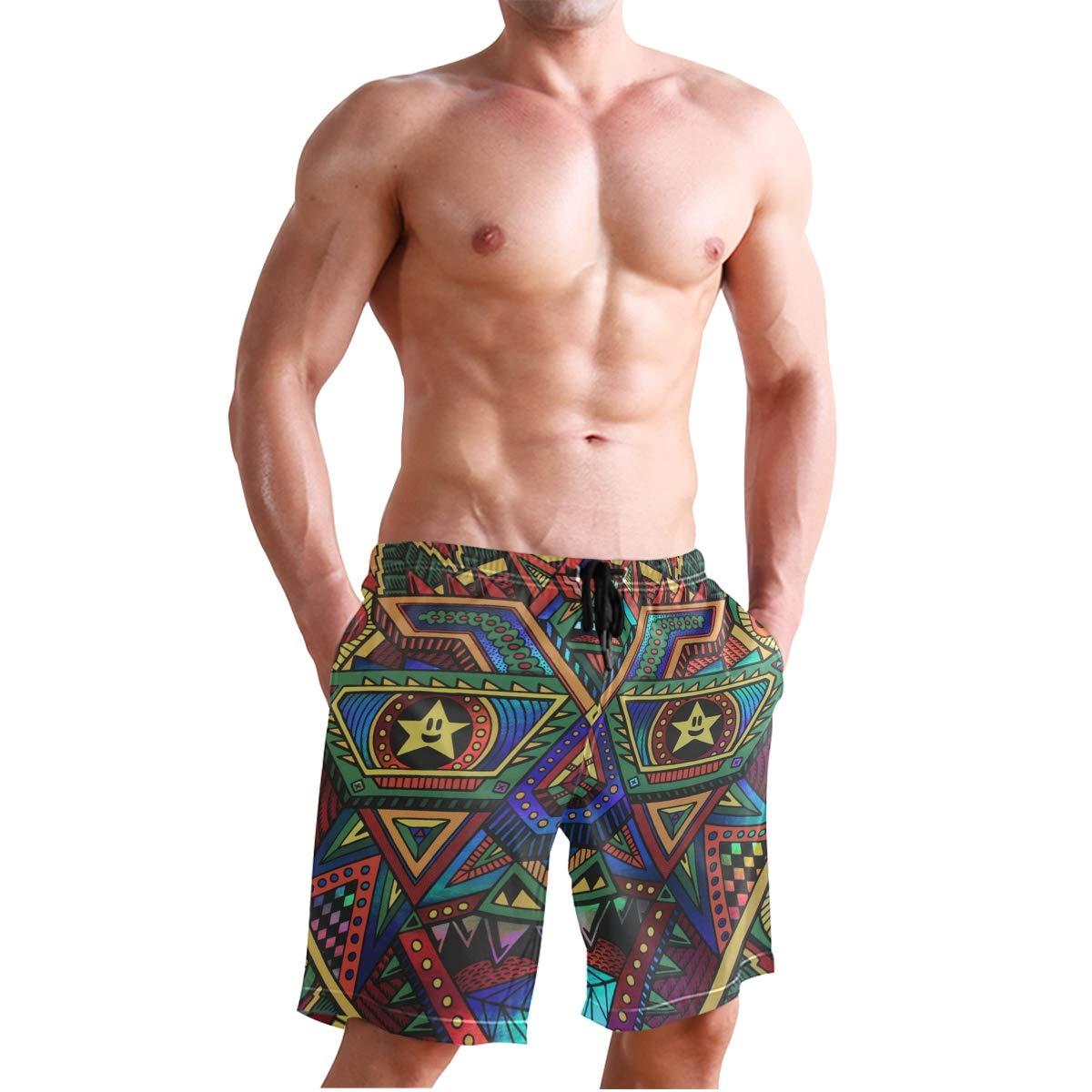 DEYYA Rainbow Flower Mandala Summer Beach Shorts Pants Mens Swim Trunks Board Short for Men