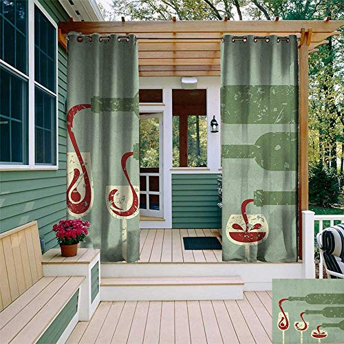 Wine, Outdoor Curtain Pole, Grungy Aged Display with Wine Pouring into Glasses Stylized Retro, Fabric by The Yard W96 x L108 Inch Almond Green Olive Green Ruby ()