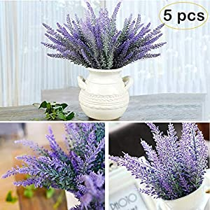 YBLNTEK Artificial Lavender Flowers Bouquet 5 Pcs Fake Flocked Plant Purple Fake Flower Decor Brighten Home Party Wedding Centerpieces Arrangements 65