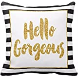 DETALLAN Gold Glitter Stripes Square Throw Pillow Case Cushion Cover Soft Home Decor