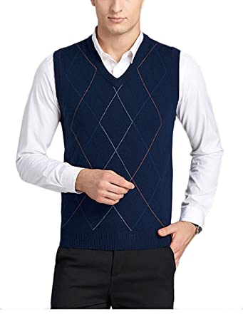 b57da5188bb6b7 DD UP Men s V-Neck Argyle Pattern Sweater Vest Cardigan Knitted Waistcoat  Sleeveless Tank Tops