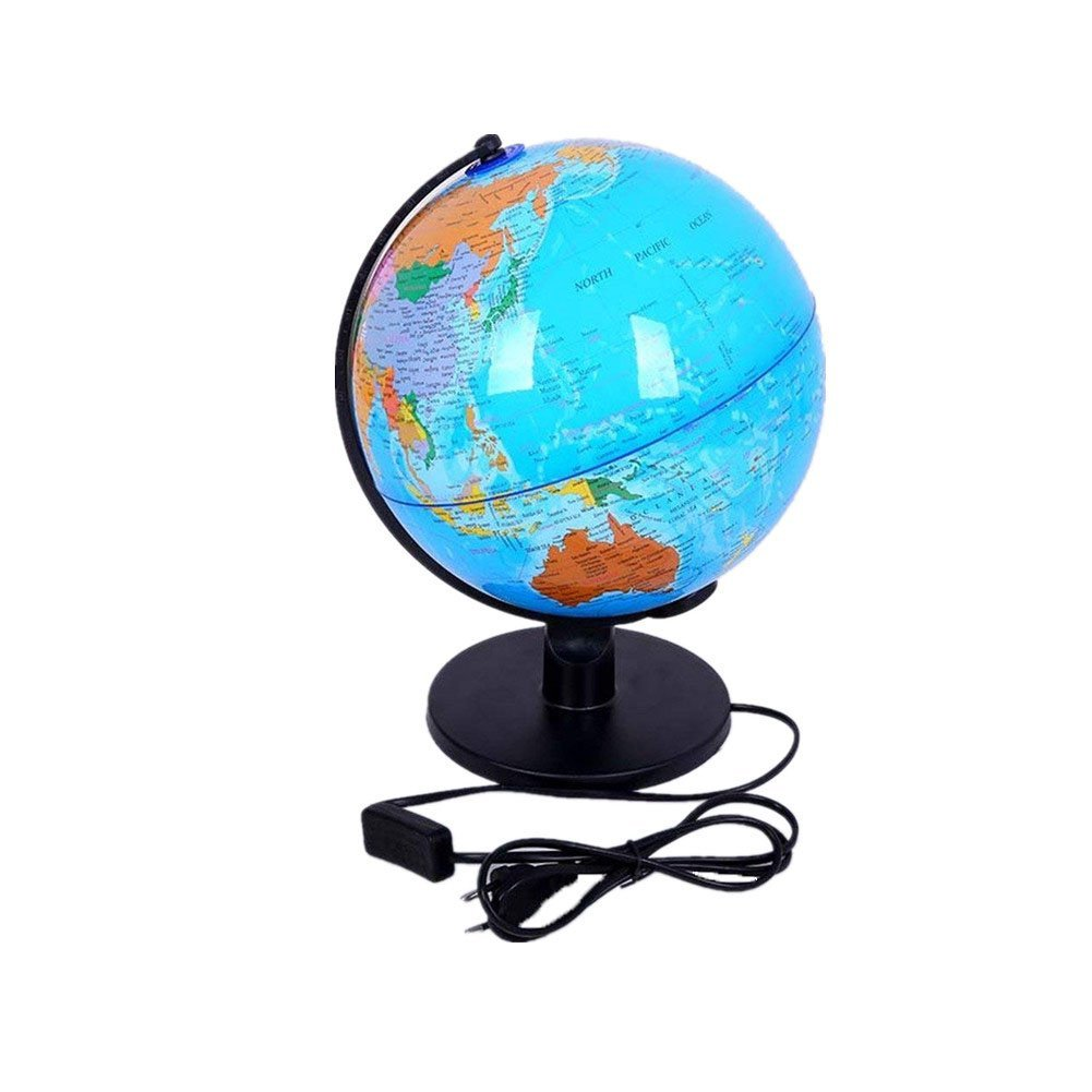 World Globe Map Lamp Table Desk Lamp Night Light Illuminated for Kids Teachers with Stand Educational Interactive Astronomy Geographic Map Energy-Saving Earth Lighting Ø25cm/9.84inch