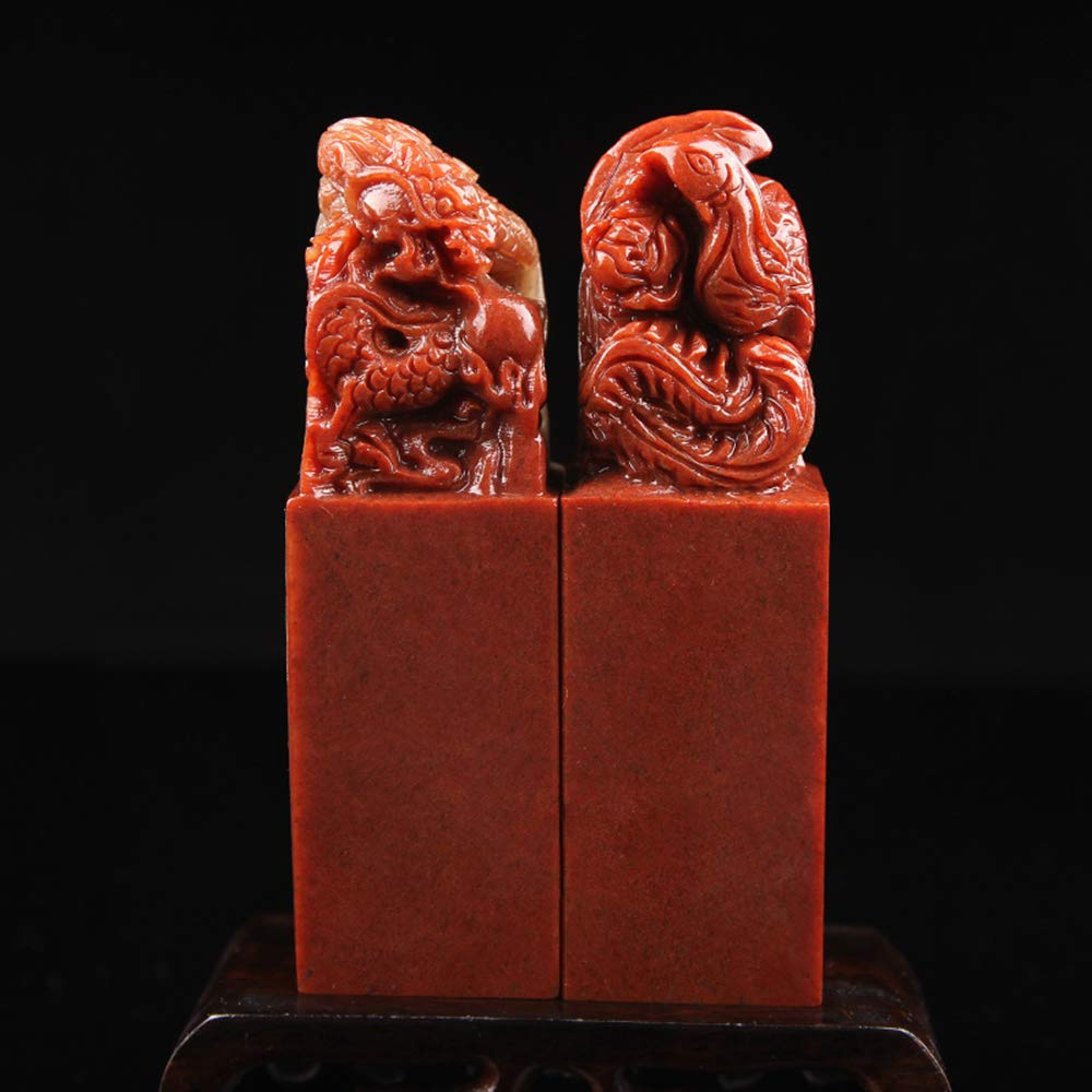 Carving Dragon Phoenix Seals Custom Chinese Name Stamp Calligraphy and Painting Chop Lovers Gifts(1 Pair)