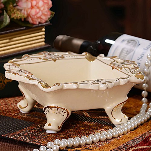 OLQMY The high-end atmosphere, European style luxury creative ashtray, dental porcelain, ceramic ashtray Home Furnishing ornaments 718cm