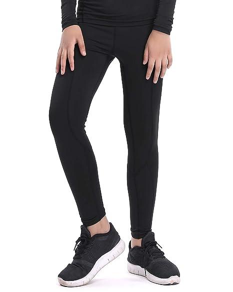 231f10470c LNJLVI Boys & Girls Compression Tights Base Layer Thermal Under  Tights/Leggings (Black Fleece Lined, 12)
