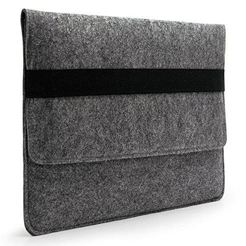 Lavievert Handmade Gray Felt Case Bag Sleeve Protector with Black Eslastic Band for Apple 15 MacBook Pro / 15 MacBook Pro Retina and Most Popular 15…