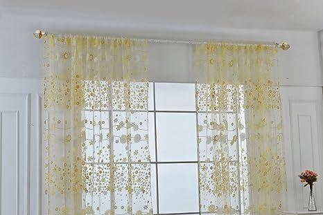 Tende Per Finestra Balcone : Yulan 1pc floreale tulle tenda in voile finestra screening per porta