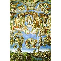 Michelangelo The Last Judgment Fresco Sistine Chapel Vatican City Poster 12x18