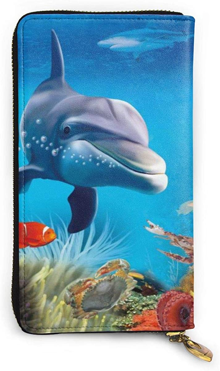 Lovely Dolphin Trendy Printed Wallets For Women Zipper Clutch Wallets Bag Card Holder