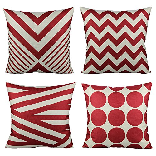 All Smiles Outdoor Decorative Red Throw Pillow Covers Cases Home Decor Accent Pillowcases 18 x 18 Set of 4 Cotton Linen For Sofa Couch,Geometric - Red Stripe Pillowcase Set
