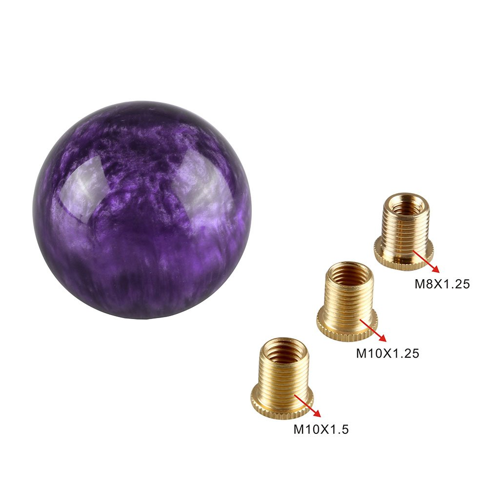 Purple Ruien Marble Style Round Ball Gear Shift Knob with Adapters fit for Manual and Most Automatic 5-Speed 6-Speed Cars